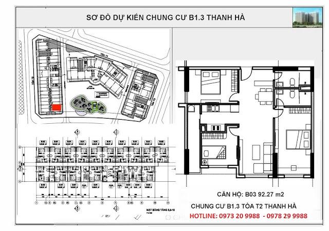 Sơ đồ căn hộ số B03 chung cư T2 Thanh Hà