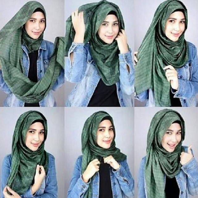 tutorial hijab pashmina simple 2017