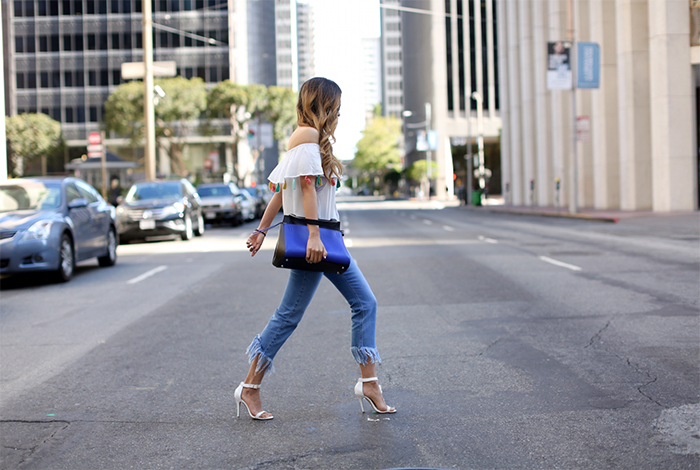 cropped and fringe hem jeans, denim trends, fringe jeans, celine edge bag, Gentle monster kong hyo jin sunglasses, gentle monster sunglasses, tassel top, steve madden sandales, chanel necklace, san francisco street style, san francisco financial district, summer outfit ideas, denim edit