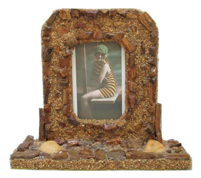 Picture Frame Petrified Wood, Beach Pebbles & Seashells