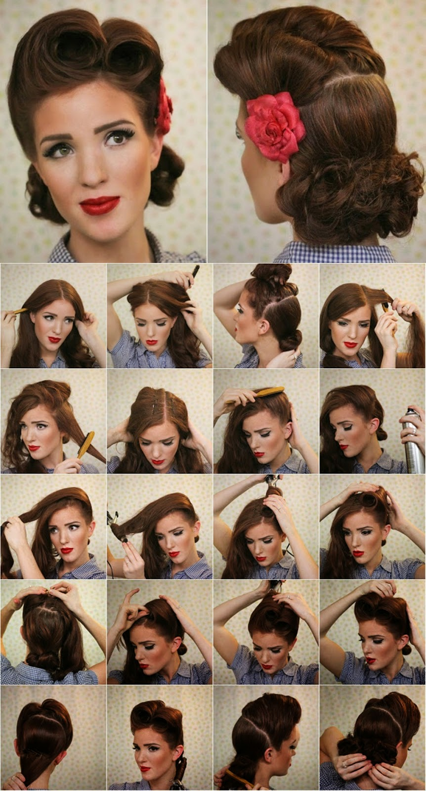 Vintage Look Pin Up Victory Rolls Complete Hair Style