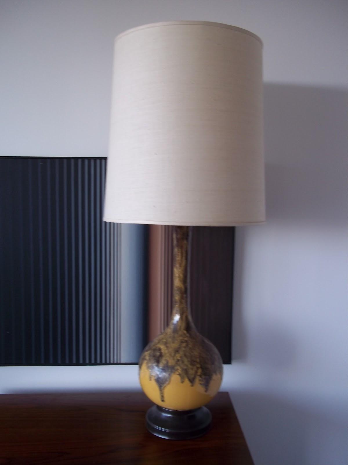 modern20: Vintage 1960's Ceramic Organic Drip Glaze Lamp