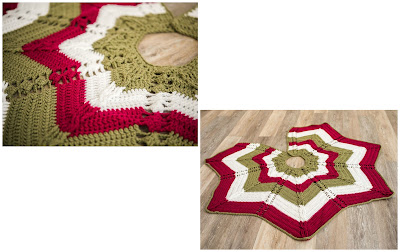 Classic Cable Star Christmas Tree Skirt by Crafting Friends Designs