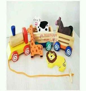 Mainan Kayu Kereta Hewan