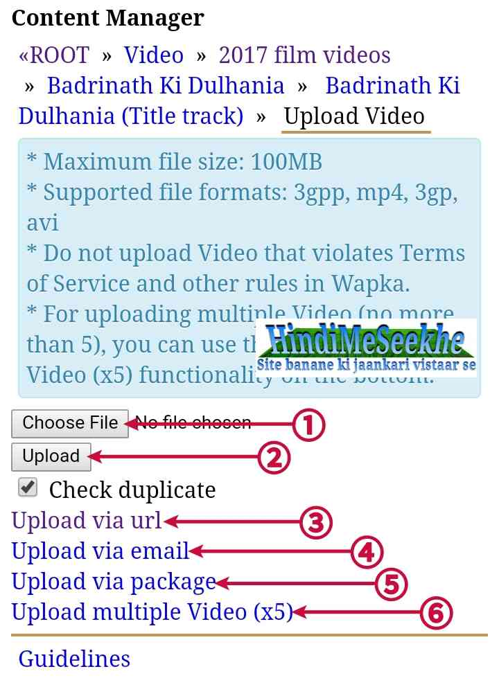wapka-content-manager-video-upload-options