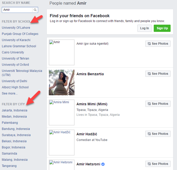 Facebook Search People Without Logging In