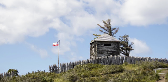 Wooden replicas of the original settlements in Fort Bulnes outside Punta Arenas Chile
