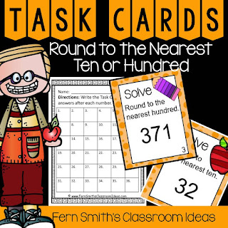 Fern Smith's Classroom Ideas Rounding to the Nearest Ten or Hundred Task Cards