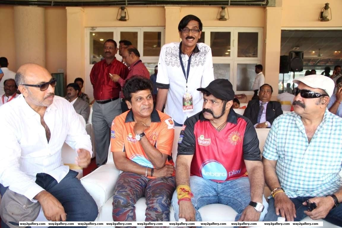 Sathyaraj Shivarajkumar Manobala Nandamuri Balakrishna and Vijayakumar were among the celebrities at the Natchathira cricket tournament