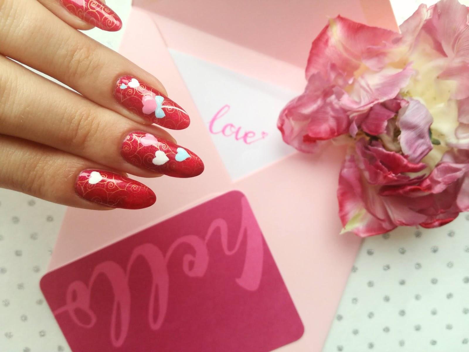 walentynkowe zdobienie paznokci