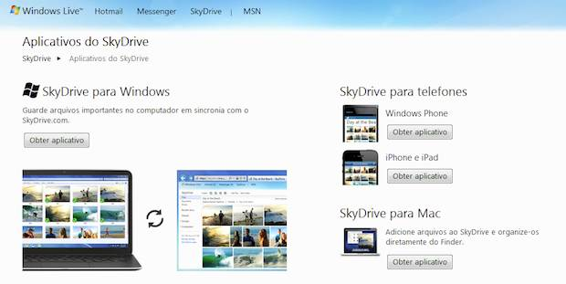Aplicativos SkyDrive