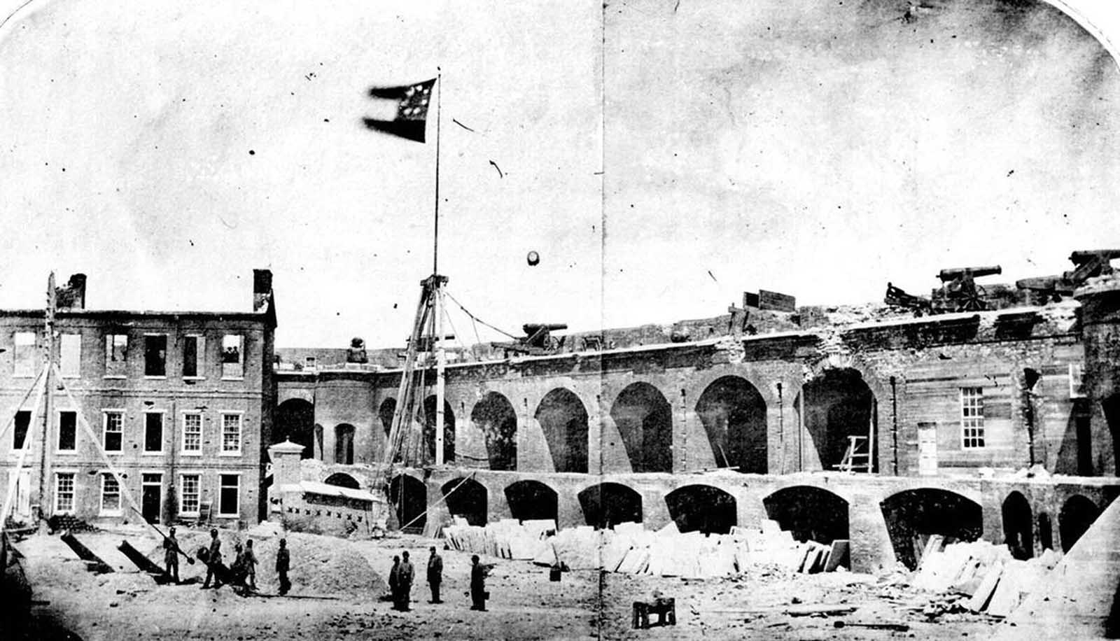 Fort Sumter, South Carolina, April, 1861, under the Confederate flag. The first shots of the Civil War took place here, on April 12, 1861, as Confederate batteries opened fire on the Union fort, bombarding it for 34 straight hours. On April 13, Union forces surrendered and evacuated the fort. Union forces made many attempts to retake the fort throughout the war, but only took possession on February 22, 1865, after Confederate forces had evacuated Charleston.