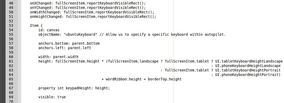 Ubuntu Touch Onscreen Keyboard QML hack for transparency