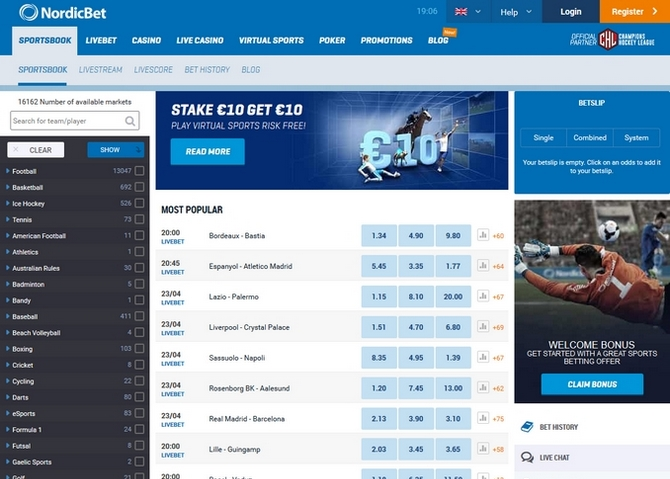 Nordicbet Screen