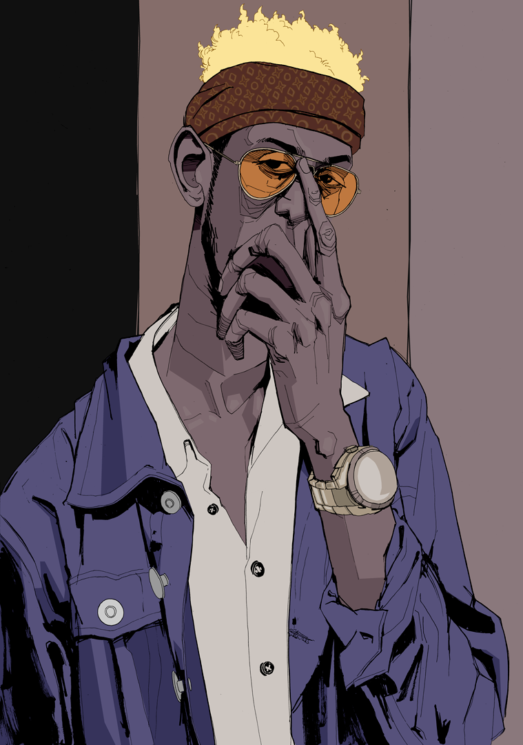 drawing guy with orange sunglasses