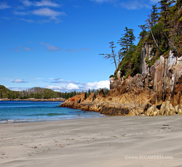 The beaches along the West Coast of Calvert Island are home to many interesting rock formations and uplifts.