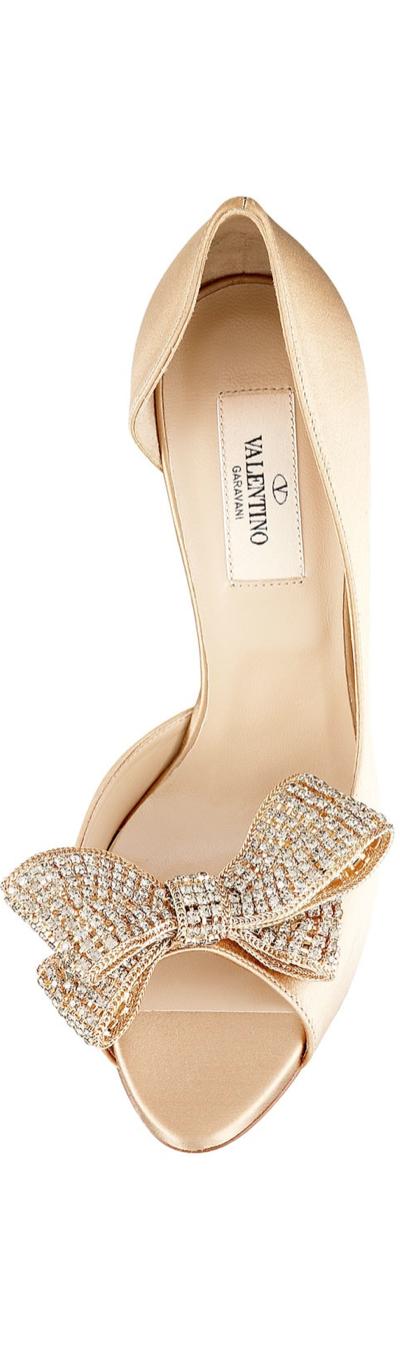 1e54946f3a5 Valentino Satin Jeweled Bow d Orsay Platform Pumps (Beige)