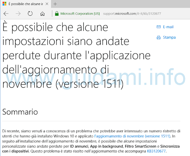 Informazioni web aggiornamento Windows Update Windows 10