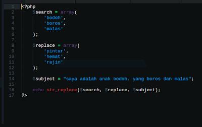 Cara multi replace dengan str_replace di php