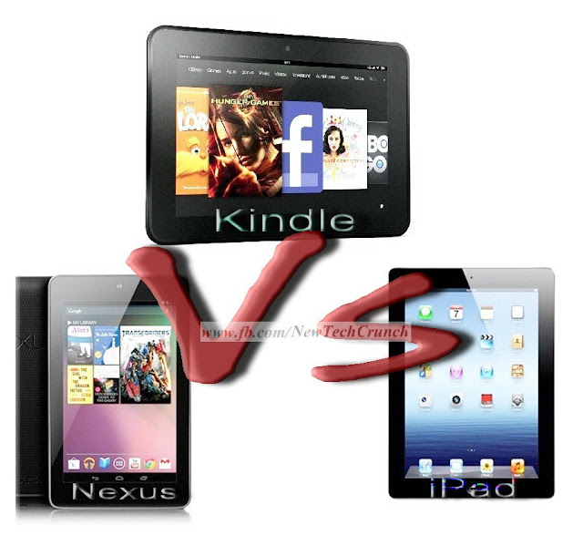 new kindle fire hd 2 vs google nexus 7 tablet vs apple ipad 3