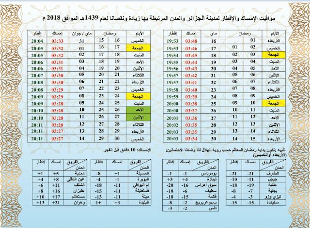 تحميل امساكية رمضان 2018 ولاية الجزائر و المدن المرتبطة بها