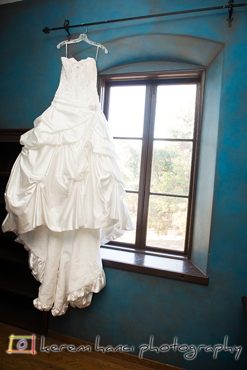 The wedding dress in the bridal room at the Villa. That color of the wall!