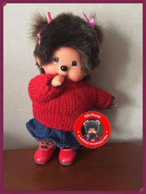 Pull mohair rouge pour Kiki ou Monchhichi - vêtement - tricot - laine - tricotage - modèle - handmade -fait-main