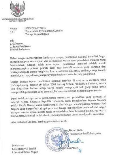 Download Surat Edaran Mendikbud Tentang Pemerataan Penempatan Guru dan Tenaga Kependidikan di Indonesia