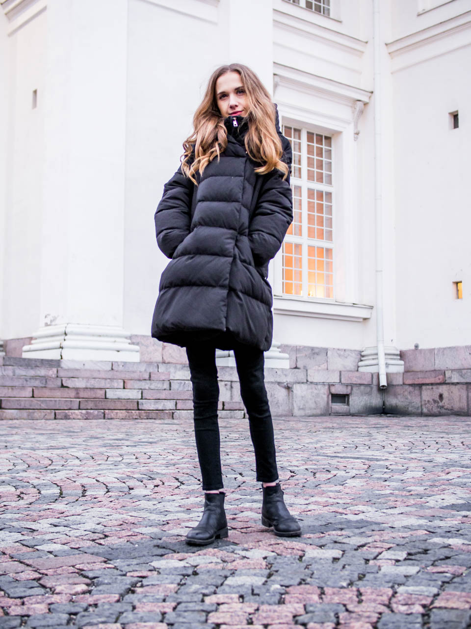 All black winter outfit with puffer coat - Kokomusta asu talveen + paksu toppatakki
