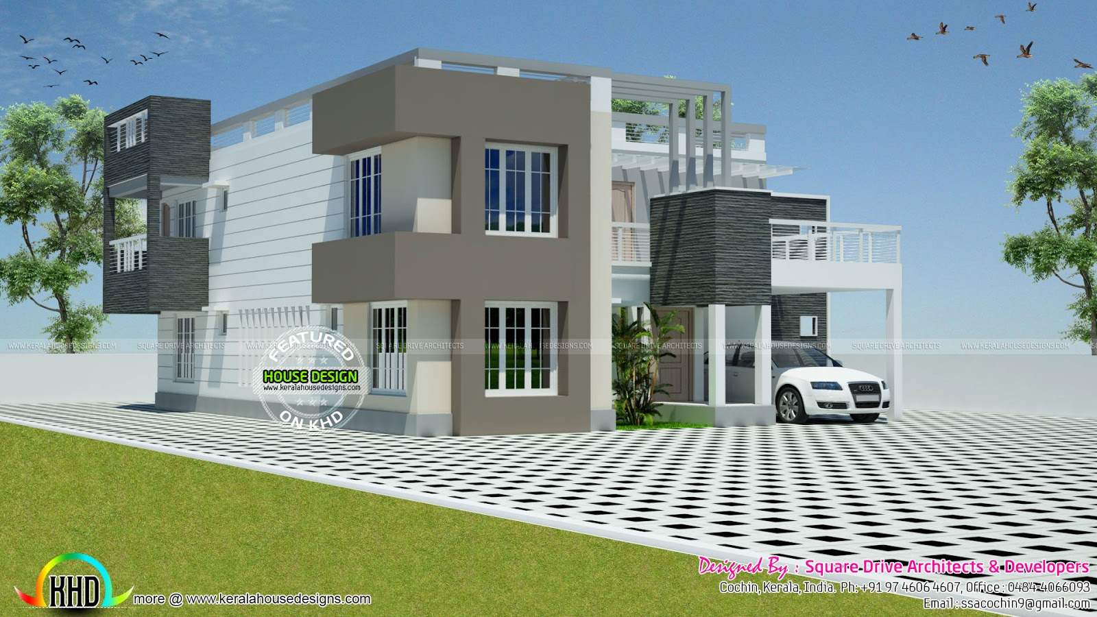 Flat Roof Contemporary Mix 4 Bhk Home Kerala Home Design And Floor