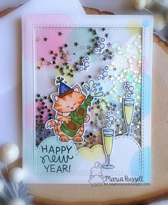 New Year Cat Shaker Card by Maria Russell | Newton's New Year Stamp Set by Newton's Nook Designs #newtonsnook #handmade