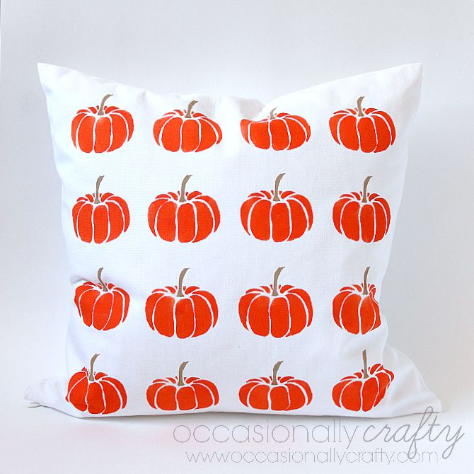 Make your own pillow covers with Paint a Pillow kits!  This Stenciled Pumpkin Pillow is so easy to make for Halloween!