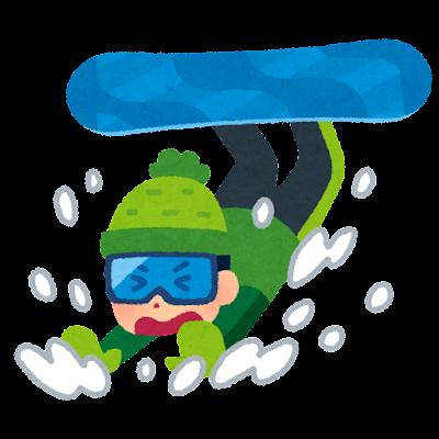 スノーボードで転ぶ人のイラスト