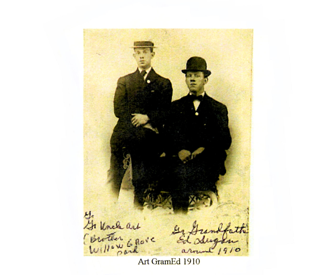 Grand grand father Ed Dugan and his brother abt 1910 Willow Grove Park, PA