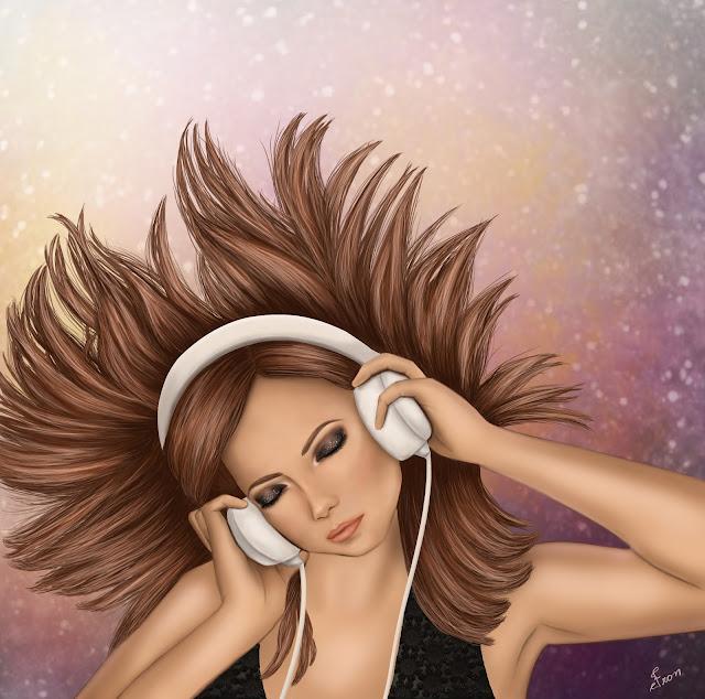 desenho de uma moça ouvindo música