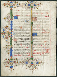 A colorful ornamented medieval manuscript.