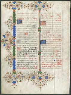 A colorful ornamented medieval manuscript.