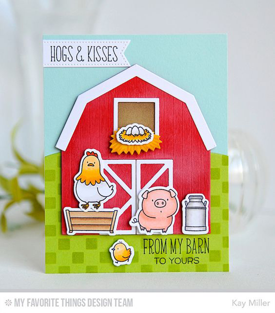 Hogs & Kisses Card by Kay Miller featuring the Birdie Brown The Whole Herd stamp set and Die-namics and Barn Die-namics #mftstamps