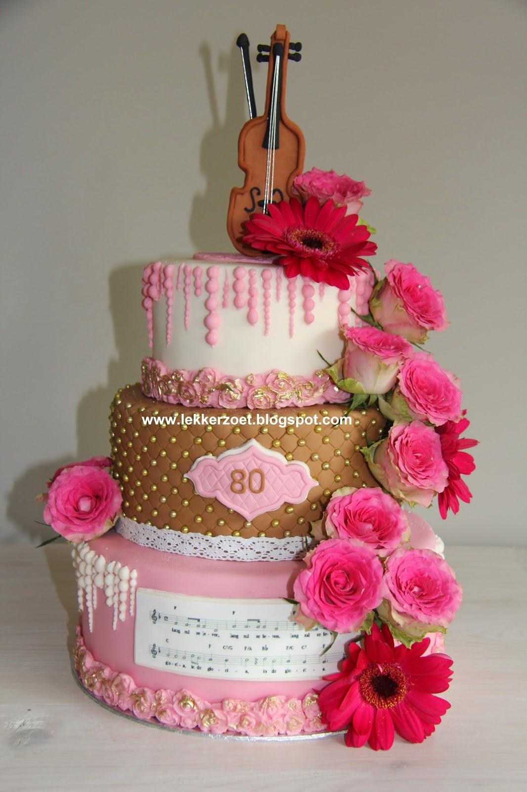 taart 80 lekker zoet: 80 jaarviool met bladmuziek taart 80