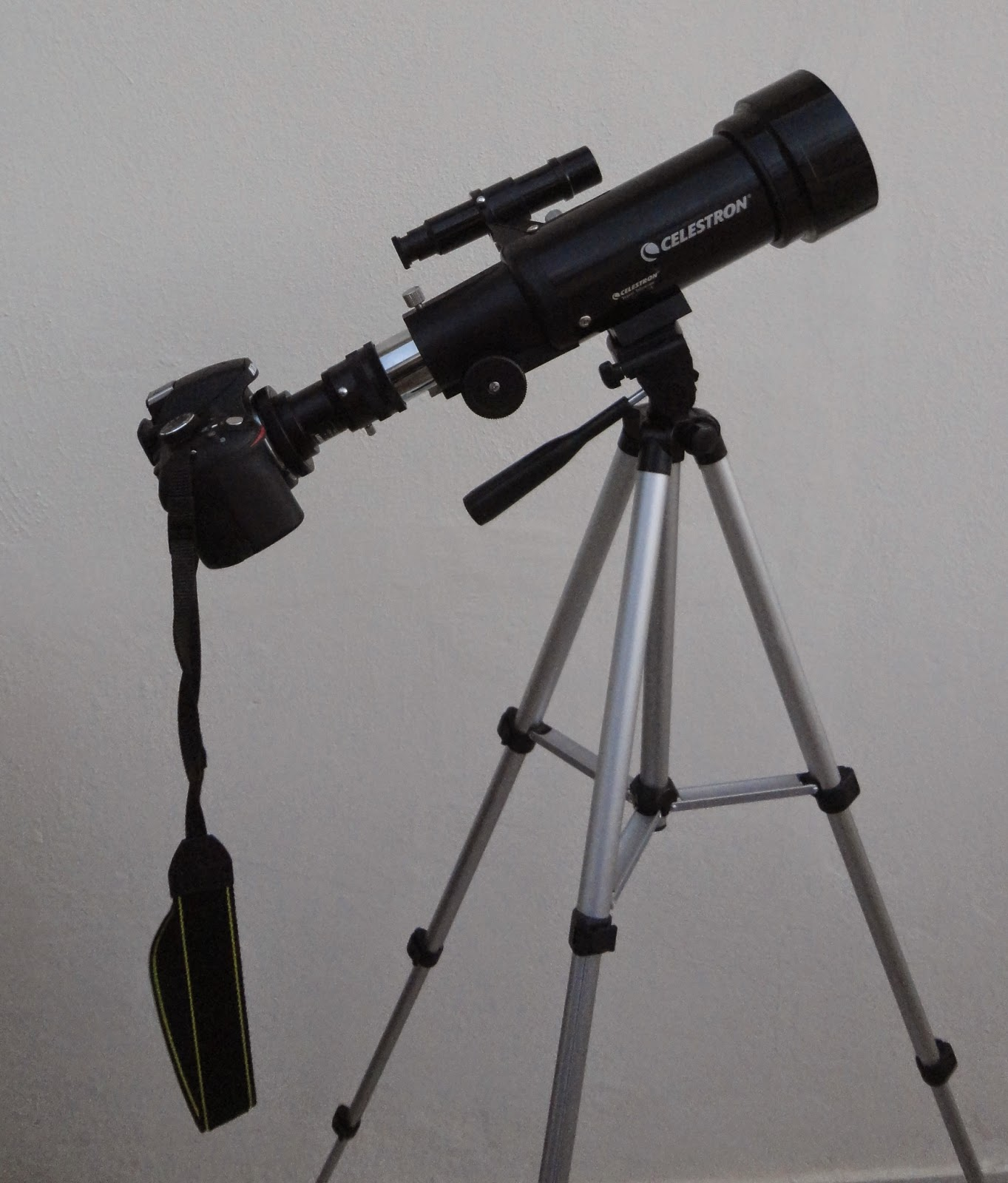 Nikon D3200 attached to the Celestron travelscope 70 using a T2 Mount.