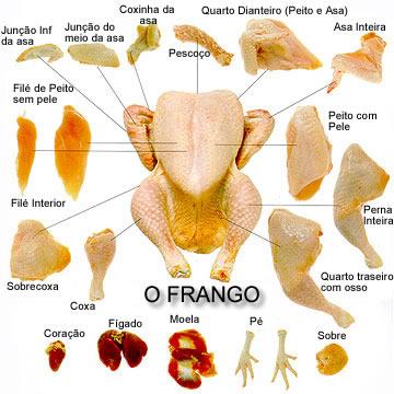 Partes del pollo en portugues