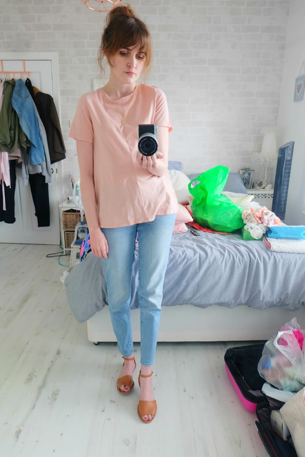 zara embroidered jeans, asos swing t shirt