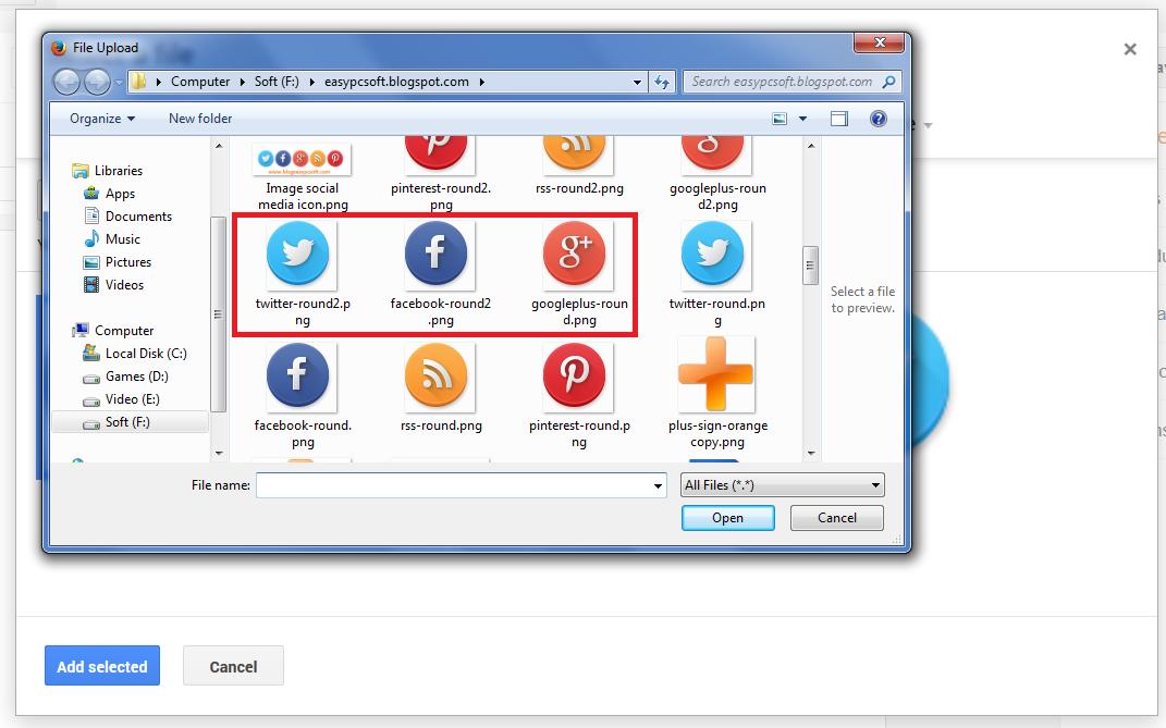 Select social icon