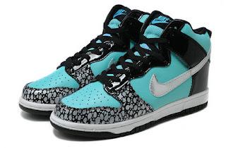 SB Dunk Girls Nike High Tops Shoes Tiffany Custom Black ...  SB Dunk Girls N...