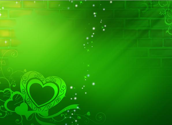 Fondo Primavera álbum Classic Flor Y Estrellas: Fondos De Corazones Verde