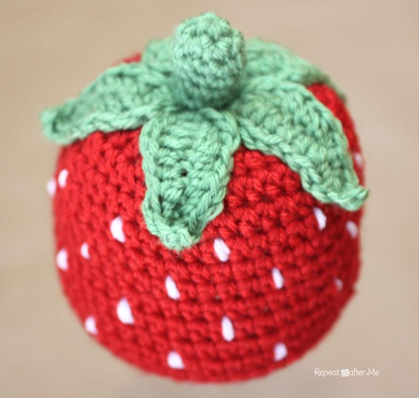 b0b500062 Crochet Strawberry Hat Pattern - Repeat Crafter Me