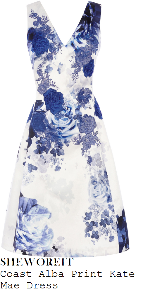 lydia-bright-coast-kate-mae-white-and-blue-alba-rose-floral-print-sleeveless-v-neck-high-waisted-structured-a-line-fit-and-flare-dress