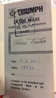 Wests (Lincoln) Ltd service voucher 9 March 1973