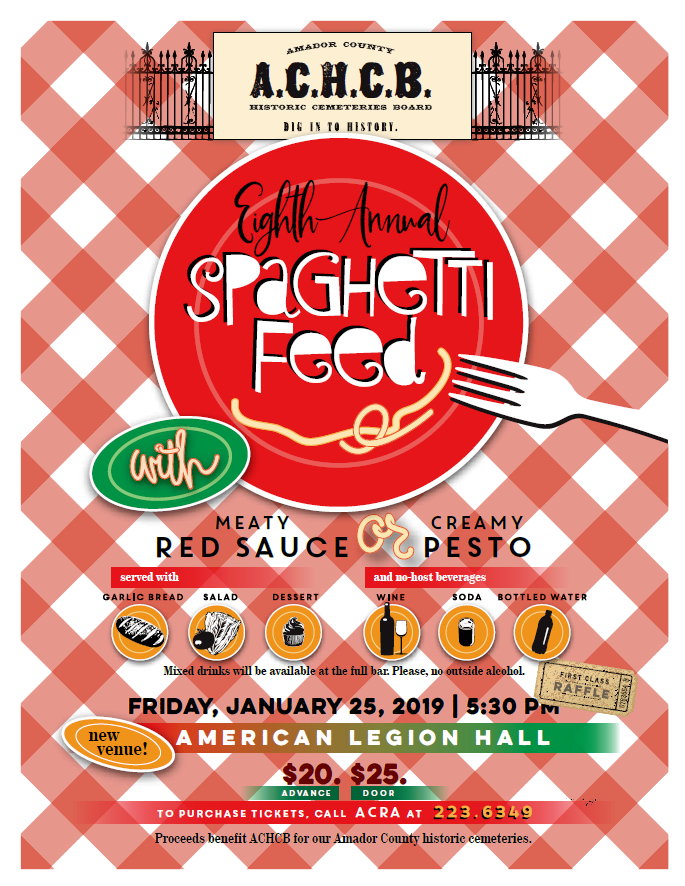 Amador County Historic Cemetery Board: 8th Annual Spaghetti Feed - Fri Jan 25