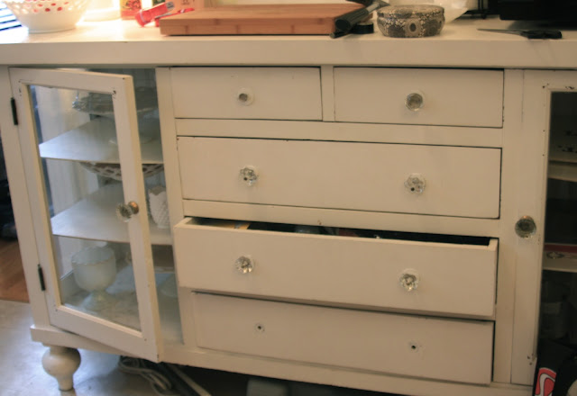 kitchen decor, dresser as a sideboard, before and after